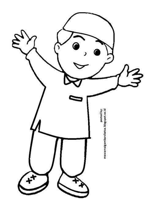 mewarnai gambar mewarnai gambar sketsa kartun anak muslim 11