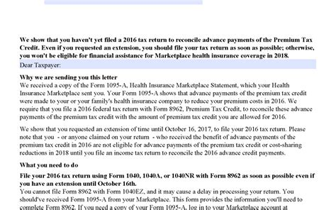 Sometimes, the tax credits may cover the the majority of those enrolled in health insurance marketplaces receive the tax credit.5 the specific household income range to qualify is 100% to 400. IRS Letter 6001 - Advanced Premium Tax Credit Recipients Non-Filer Letter   H&R Block