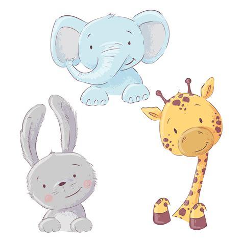 set  baby elephant bunny  giraffe cartoon style