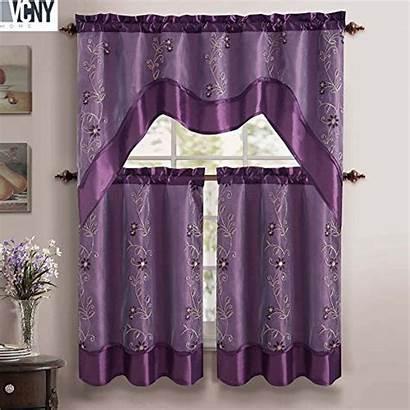 Curtain Valance Kitchen Purple Tier Pc Curtains