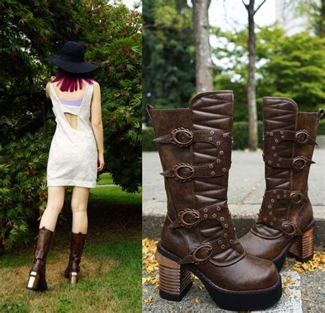 Steampunk outfit steampunk shoes victorian retro boots - Goth outfit worn by fashion blogger ...