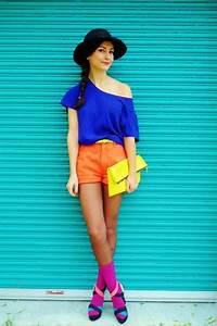 Magenta Socks Orange Shorts Yellow Forever21 Belts Blue