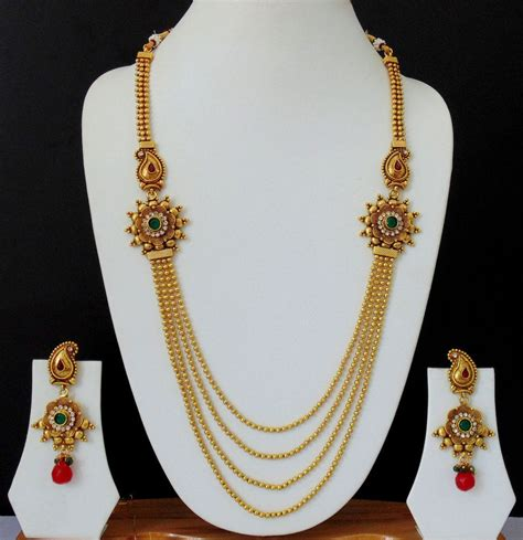 Ethnic Chain necklace ethnic indian jewelry earrings gold plated