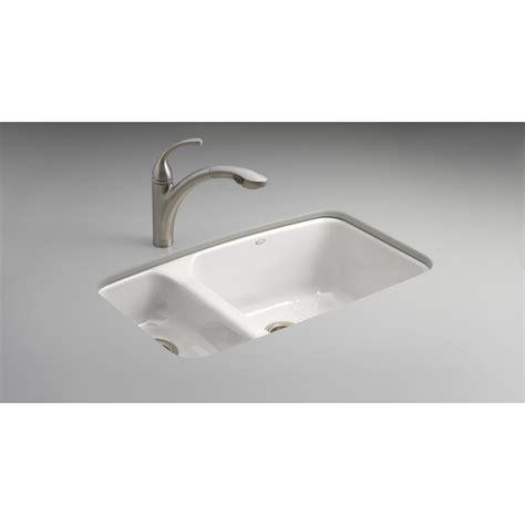 Kohler Undermount Cast Iron Sink by Shop Kohler Lakefield Double Basin Undermount Enameled