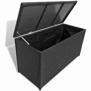 Caisse De Jardin : vidaxl caisse de stockage jardin rotin synth tique noir ~ Teatrodelosmanantiales.com Idées de Décoration