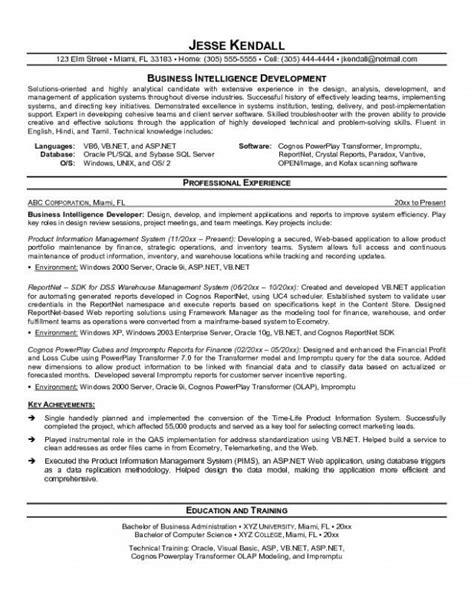 business objects developer resume resume ideas