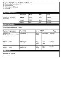 levels of proficiency resume free resume exle 1
