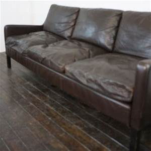 mogensen style 3 seater dark brown leather sofa with down With down filled leather sectional sofa