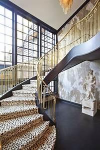 Brass, Railing, Along, Winding, Staircase, Leopard, Print, Carpeting, Sculpture, Textured, Walls