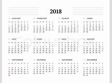 Simple Calendar Template for 2018 Year Stationery Design