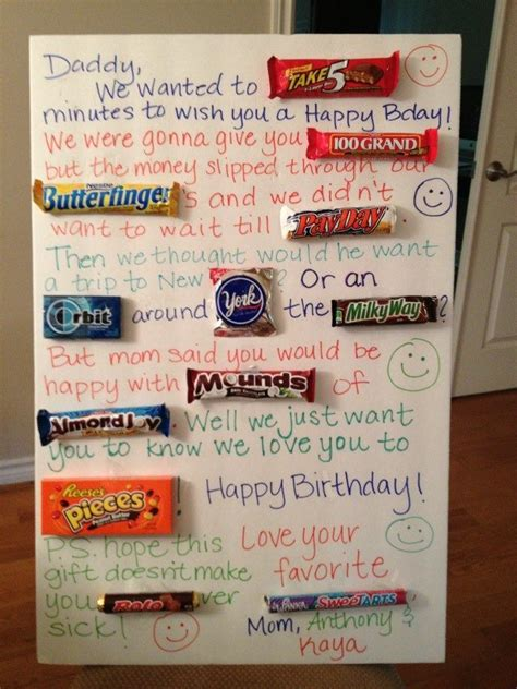 Have fun putting together a candy poster! Candy Birthday Card for Daddy.   Bc   Pinterest   Candy ...