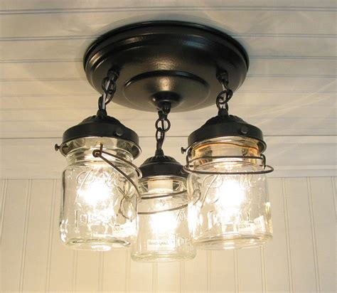 vintage pint jar ceiling light trio