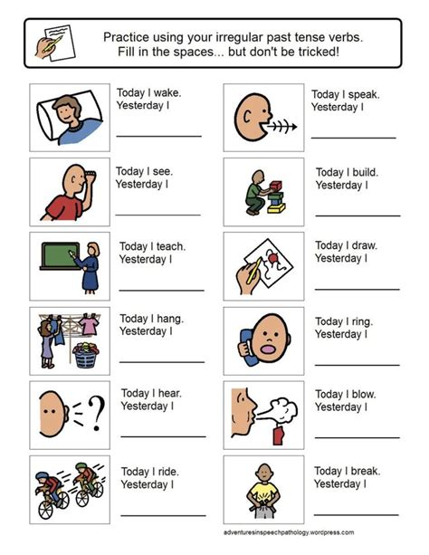 irregular past tense verb worksheets learning