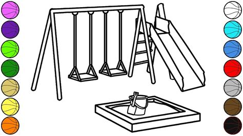 playground coloring pages outdoor playground coloring pages for children