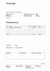 Rechnung Schweiz : proformarechnung vorlage muster und vorlagen kostenlos ~ Themetempest.com Abrechnung