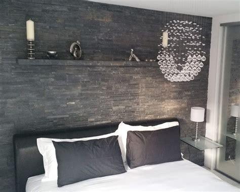 slate split tiles feature wall bedroom slate walls