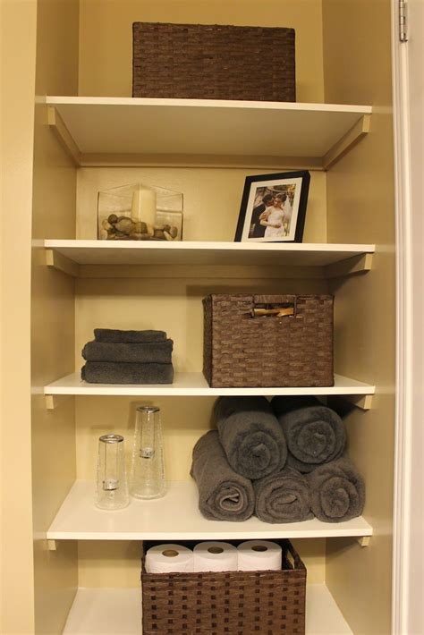 Open Closet Shelves by Diy Organizing Open Shelving In A Bathroom For The Home