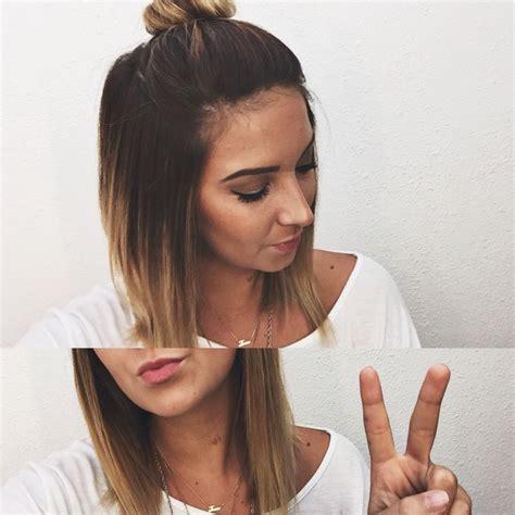 Short Ombré Hair Top Knot Bun Hair Pinterest My