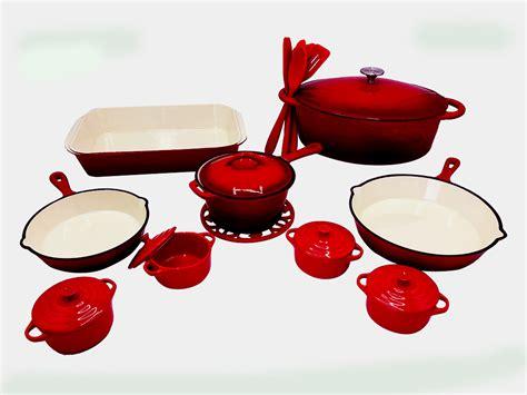 le chef cherry enamel cast iron  piece cookware set le chef cookware