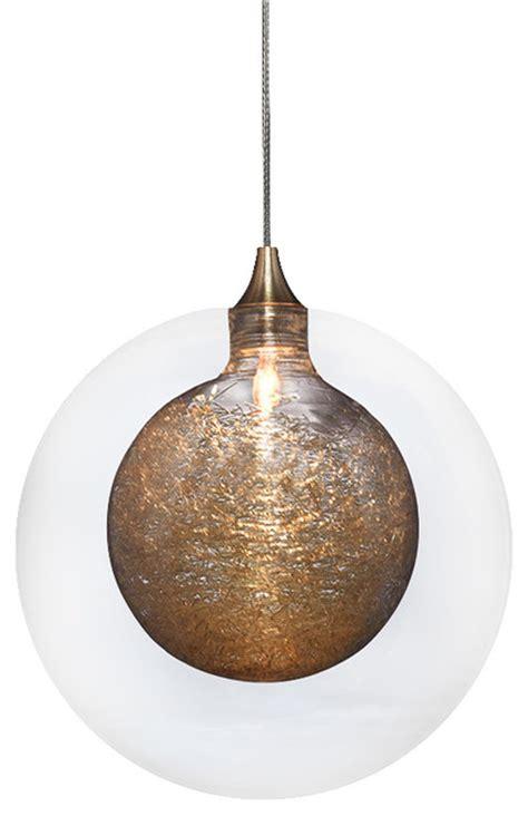 kadur glass pendant light clear with gold inner