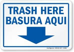 "Bilingual Trash Signs, Trash Here, Basura Aqui Sign, 10""x7"""