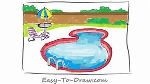 How to Draw a Cartoon Swimming Pool within a Fence for ...