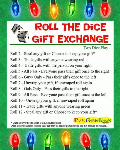roll  dice gift exchange games adult party games