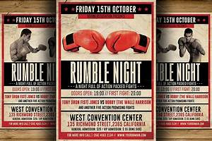 Vintage boxing flyer template flyer templates creative for Boxing poster template free