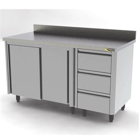 poubelle de cuisine meuble bas inox avec 3 tiroirs l2000 sofinor mdt120
