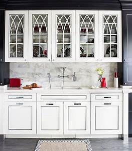 White kitchen cabinets with gothic arch glass front doors for Kitchen cabinet doors with glass