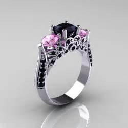 14k white gold three light pink sapphire black solitaire ring r200 14kwgbdlps - Black And Pink Engagement Rings