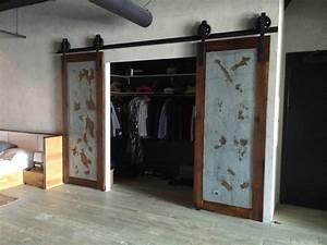 sliding barn door bipart reclaimed wood galv With commercial sliding barn doors
