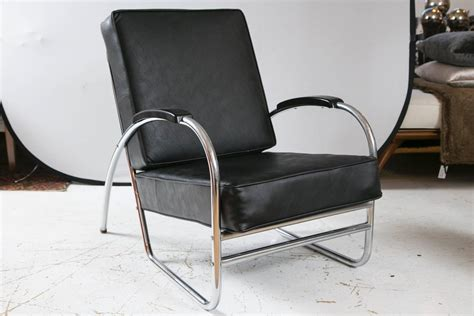 wolfgang hoffmann style leather and chrome club chairs by