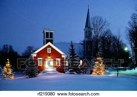 stock photography   small town winter snow scene
