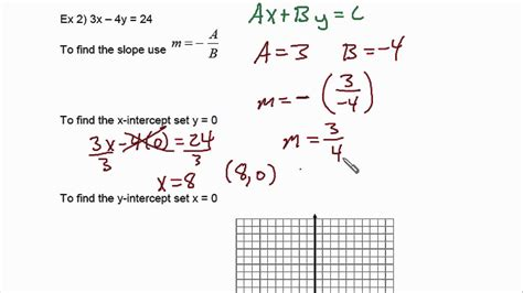 find standard form from graph finding slope and x and y intercepts from standard form