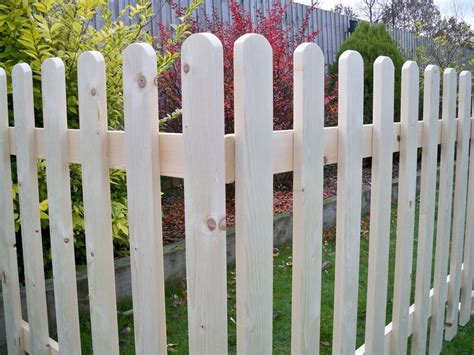 Free Standing Planed Smooth Wooden Picket Fence