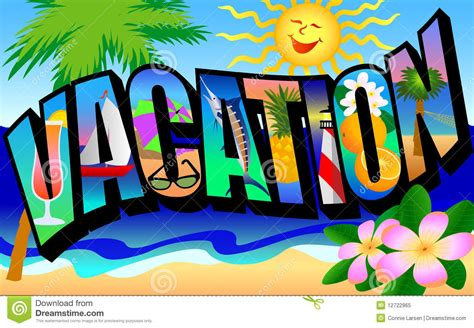 Vacation Clipart Retro Vacation Postcard Stock Illustration Illustration
