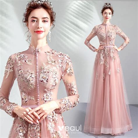 Vintage / Retro Pearl Pink See-through Evening Dresses ...