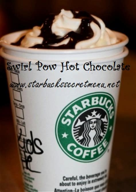 Water, sugar, white grape juice concentrate, natural flavors (i assume that's the mango), citric acid (additive/preservative), natural green coffee flavor (caffeine), freeze dried dragonfruit pieces. Starbucks Swirl Pow Hot Chocolate | Starbucks Secret Menu
