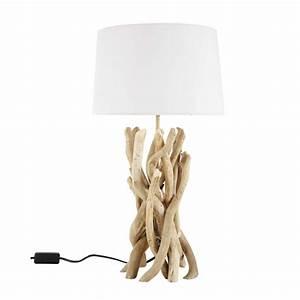 Lampe Chevet Bois Flotté : lampe en bois flott et abat jour en coton h 55 cm nirvana maisons du monde ~ Teatrodelosmanantiales.com Idées de Décoration