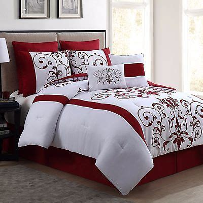 queen size comforter set  piece red wine  white