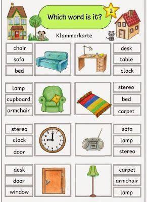 "Ideenreise Klammerkarten ""at Homefurniture""  Angličtina  Pinterest  Verbos En Inglés"