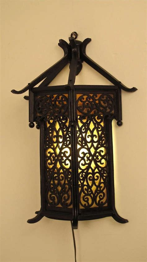 asian style wood wall lantern sconce at 1stdibs