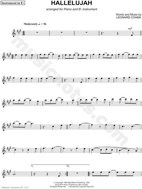 hallelujah eb instrument sheet  composed  leonard