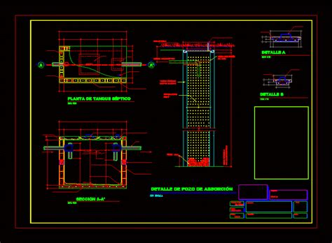 septic tank  absorption pit details dwg detail