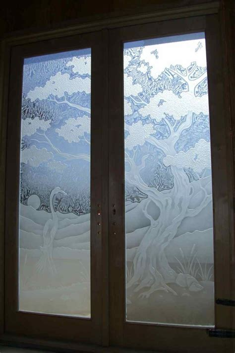 frosted glass doors bonsai tree etched in glass sans soucie glass