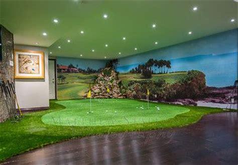 golf putting  simulator home basement traditional man