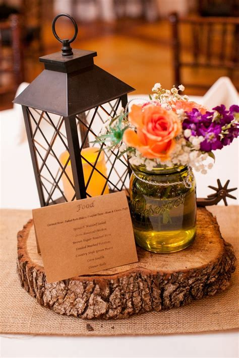 Rustic Chic Centerpieces With Lantern Mason Jar And Spur