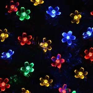 flower solar powered christmas lights 50 led 7m decorative blossom fairy string light for garden