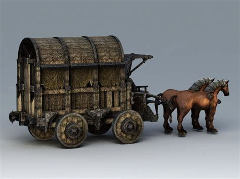 Old Horse Drawn Carriage 3d model 3ds Max files free